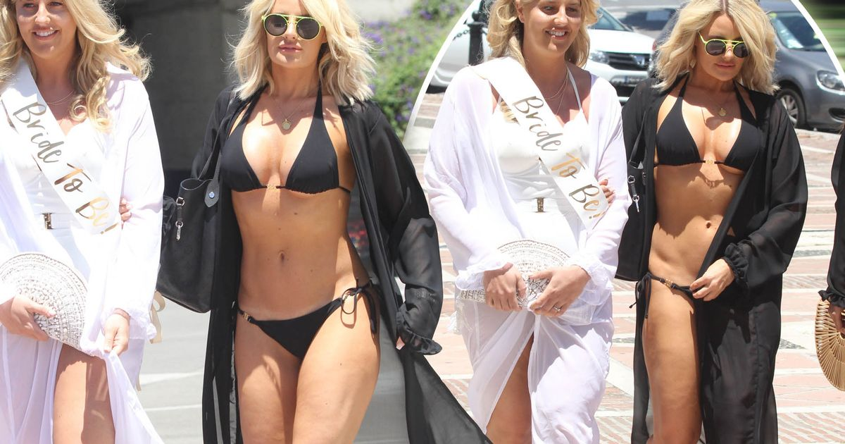 Danielle Armstrong unveils incredible bikini body during sister's hen do – after revealing she gained two stone during TOWIE filming