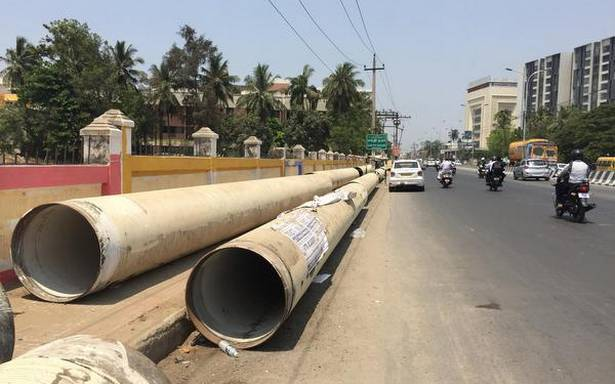 CMWSSB removes pipes from footpath