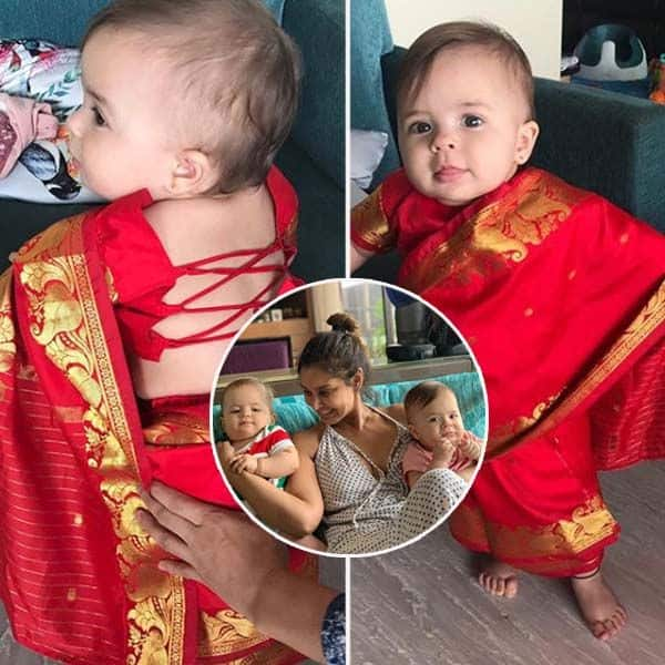 Lisa Ray's twins Soleil and Sufi dress up like 'mashimas' in custom-made saris – view pics! | Bollywood Life