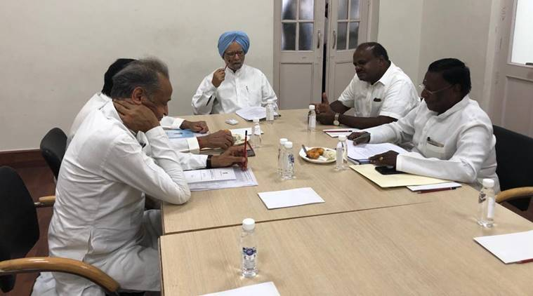 Congress CMs consult Manmohan Singh over issues to be raised at Niti Aayog meet