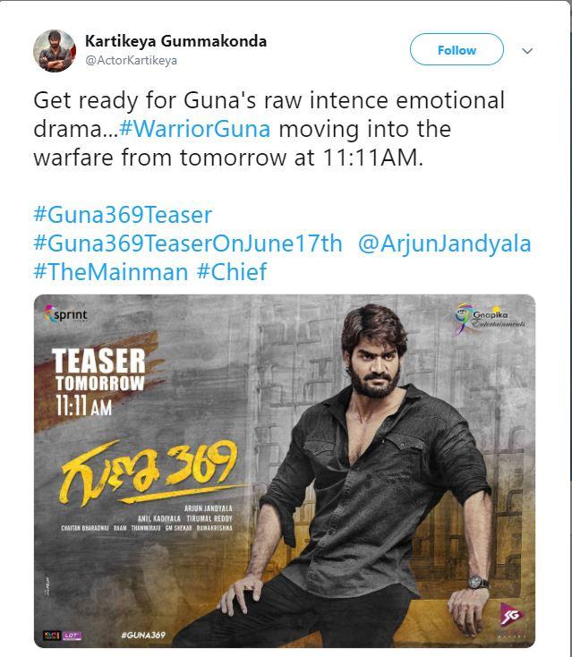 Kartikeya Guna 369 Teaser on 17th June