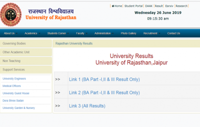 Rajasthan University BA Part 1, 2 results 2019 declared at uniraj.ac.in, check link here