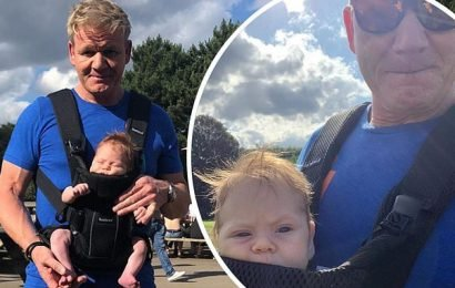 Piers Morgan pokes fun at Gordon Ramsay for wearing a papoose with son