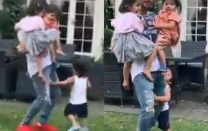 Taimur clings onto Kunal Kemmu's leg as he carries Inaaya and Kainaat in his arms | Bollywood Life