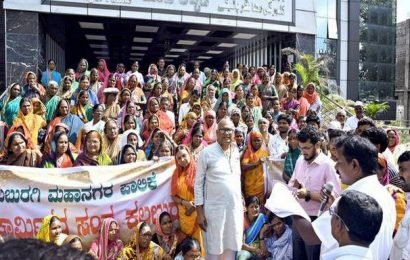 Pourakarmikas take out protest march in support of demands