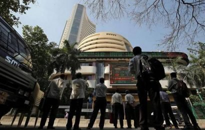 Sensex drops over 200 points; RIL soars 8%