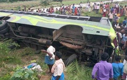 30 passengers hurt after bus overturns