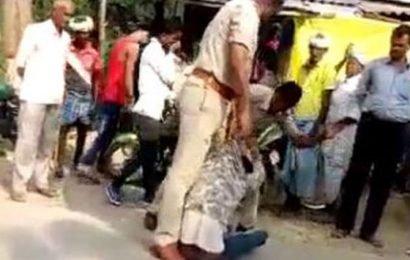 VIDEO: UP cops brutally thrash biker, suspended