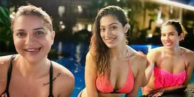 Raai Laxmi tempting pose in bikini