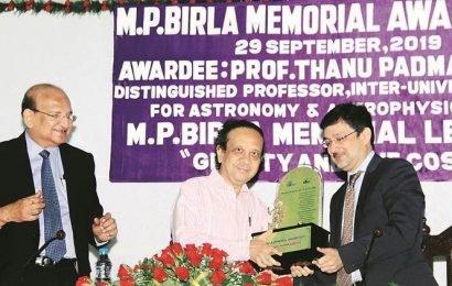 Scientist Thanu Padmanabhan gets MP Birla Memorial Award
