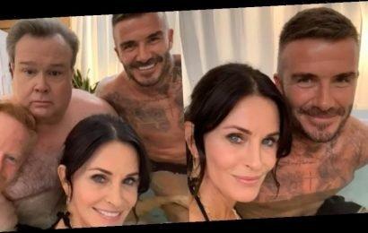 Courteney Cox Joins David Beckham in a Hot Tub With 'Modern Family' Stars Eric Stonestreet & Jesse Tyler Ferguson!