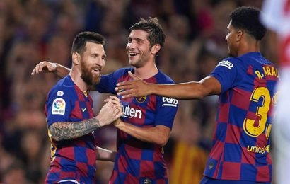 PIX: Messi nets first as nine-man Barca thrash Sevilla