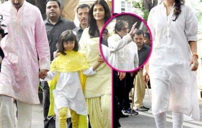 दादू Amitabh Bachchan के बर्थडे पर मम्मी-पापा संग फैंस से मिलने पहुंची Aaradhya Bachchan, बुआ श्वेता नंदा भी थी साथ