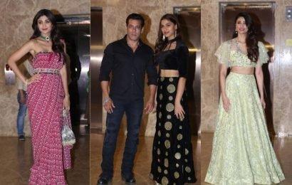 Salman Khan attends Ramesh Taurani's Diwali bash with Dabangg 3 actor Saiee Manjrekar, see pics