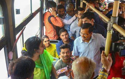 CM Arvind Kejriwal hops on public buses, seeks feedback from women about free-ride scheme