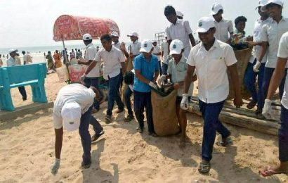 Students take part in beach clean-up drive at Suryalanka