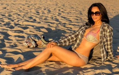 Bikini Clad Mallika Sherawat seduction on sand