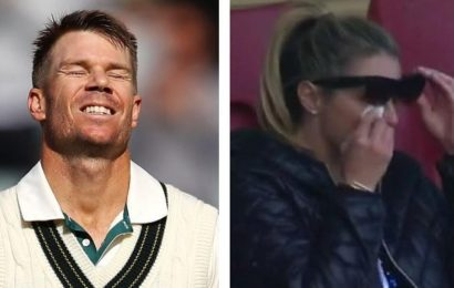 David Warner's wife Candice sheds tears after opener's historic triple century against Pakistan