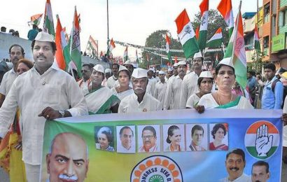 Cong. marks foundation day with march