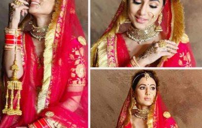 शादी का जोड़ा पहनकर शरमाई Hina Khan, तस्वीरें देख फिर से दिल हार बैठेंगे Rocky Jaiswal