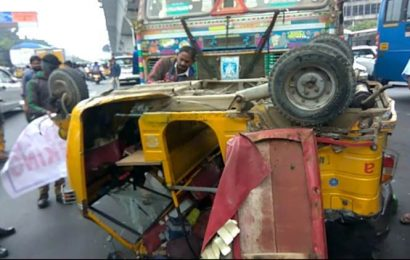 Class 7 Student killed as lorry hits auto in Hyderabad