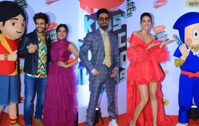 Nickelodeon Kids' Choice Awards 2019: Ayushmann Khurrana, Kartik Aaryan win big, Kriti Sanon join Ninja Hattori on red carpet. See pics