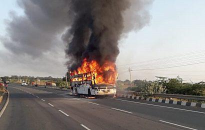 Bengaluru-bound AC bus catches fire; 30 passengers escape unhurt