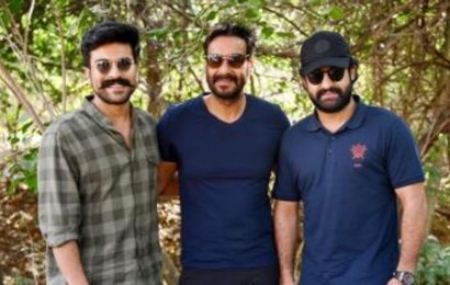 Ajay Devgn poses with Ram Charan, Rajamouli and Jr NTR on the sets of RRR, see pics