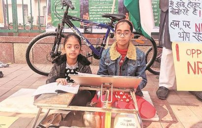 With desks and books, sisters protest at Jamia