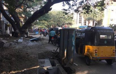 Tardy pace of SWD work makes key road in T. Nagar messy