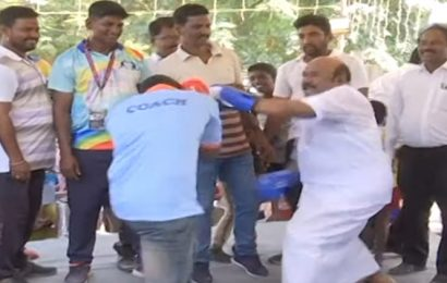 Watch: Tamil Nadu minister turns boxer, punches his way through 'victory'