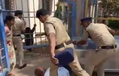 Man sqatting on road, grieving his dead daughter is kicked by Telangana cop