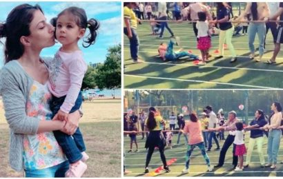 Soha AliKhan took part in daughter Inaaya's sports day function at school and fell. Watch