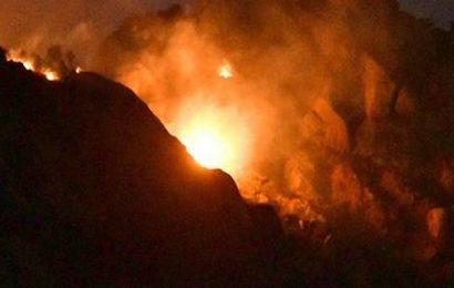 Minor fire breaks out on hill near Kagithapattarai