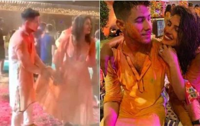 Nick Jonas wipes hands on Priyanka Chopra's kurta while playing Holi, actor says 'who needs towels?'