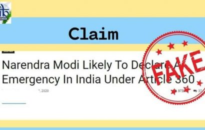 PM Modi not declaring 'emergency under article 360'. PIB calls out fake article