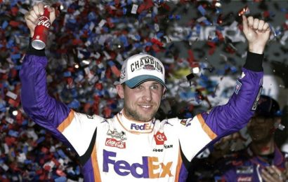 Denny Hamlin wins virtual Homestead barefoot as NASCAR races again
