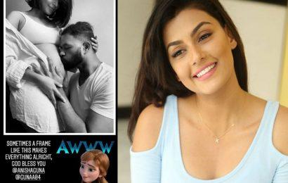 Anisha Ambrose Baby bump kisses by Guna