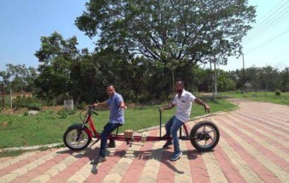 In times of social distancing, Tripura man designs bike with seats 1-metre apart