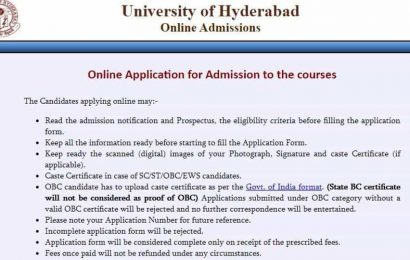 Hyderabad university admission 2020: Application process for postgraduate, research programmes begins