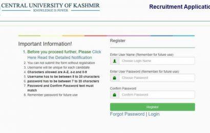 Central University Kashmir Recruitment 2020: Registration for non-teaching posts begins