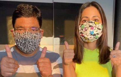 Hina Khan shares a tutorial on making masks, watch video
