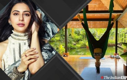 Rakul Preet aces an inverted aerial yoga pose; check it out here