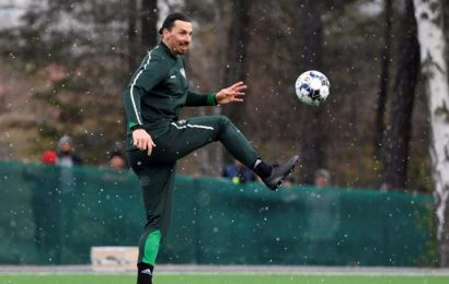Zlatan Ibrahimovic shrugs off coughing fit, trains with Swedish side Hammarby