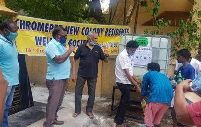 Social activist installs sanitiser plant for residents in Chromepet