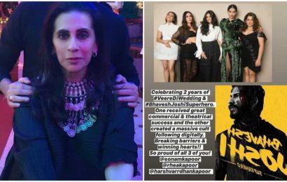 'Proud' mom Sunita Kapoor shares heartfelt post for Sonam, Rhea and Harrsh Vardhan but he has a complaint. See pic