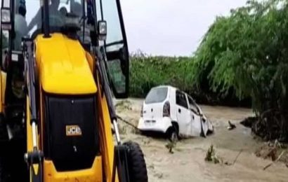 Woman missing after car swept away in overflowing stream in Telangana