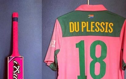 Du Plessis donates bat and pink ODI jersey for auction to raise funds to combat Covid-19