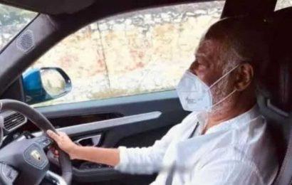 Rajinikanth spotted driving a Lamborghini wearing mask, see viral pic