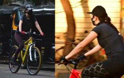 Katrina Kaif goes cycling on streets of Mumbai, wears mask and gloves for safety. See pics